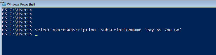 Select-AzureSubscription
